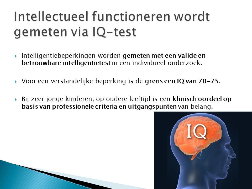  Intelligentiebeperkingen worden gemeten met een valide en betrouwbare intelligentietest in een individueel onderzoek.