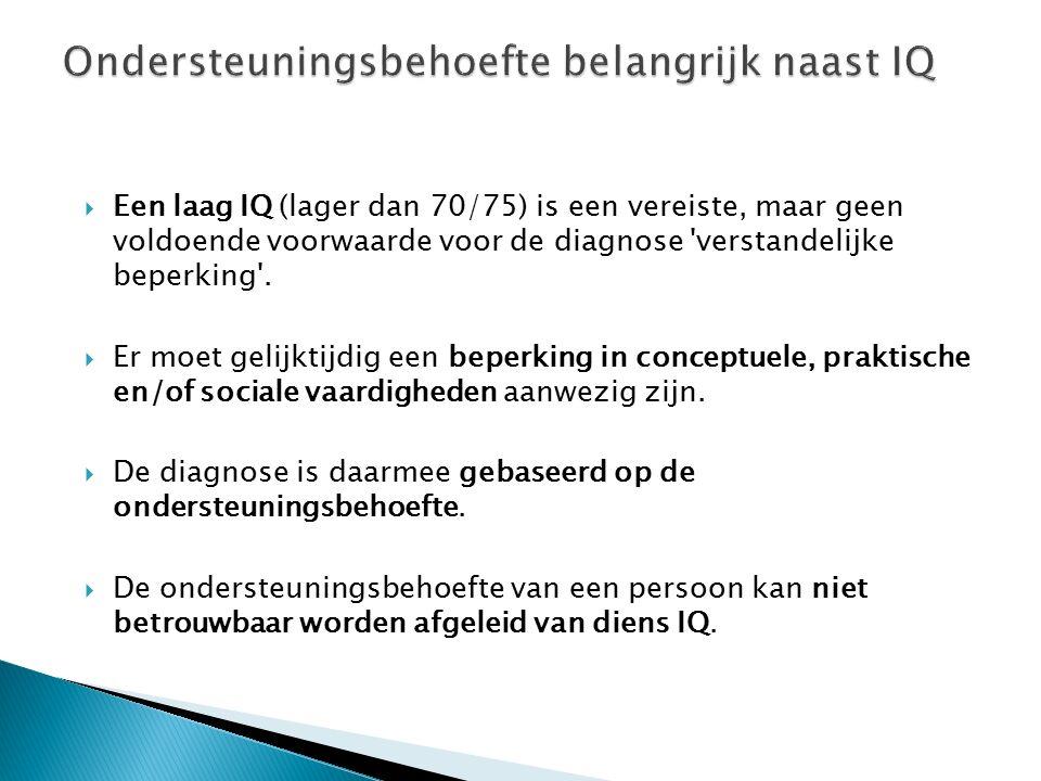  Een laag IQ (lager dan 70/75) is een vereiste, maar geen voldoende voorwaarde voor de diagnose verstandelijke beperking .