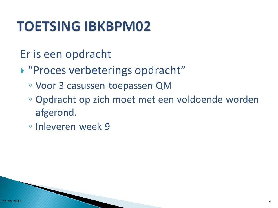 Er is een opdracht  Proces verbeterings opdracht ◦ Voor 3 casussen toepassen QM ◦ Opdracht op zich moet met een voldoende worden afgerond.