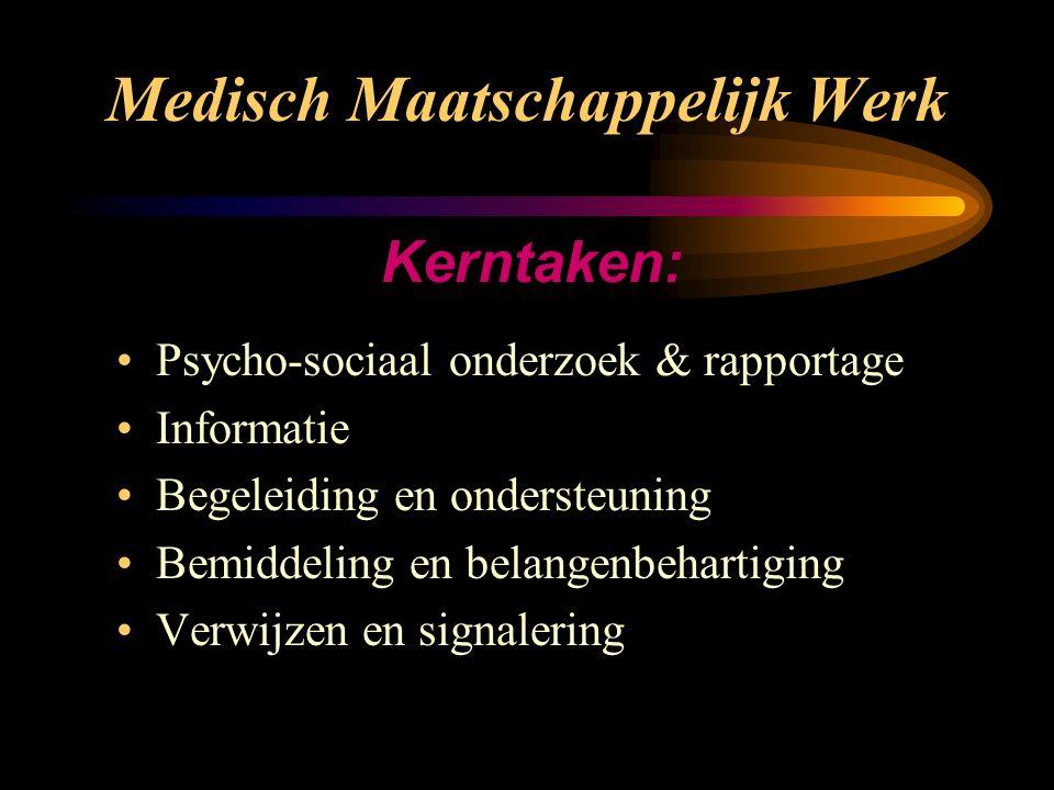 Medisch Maatschappelijk Werk Maatschappelijk Werk bestaat al ruim 100 jaar in Nederland. Medisch Maatschappelijk Werk is sinds 1980 toegevoegd aan de
