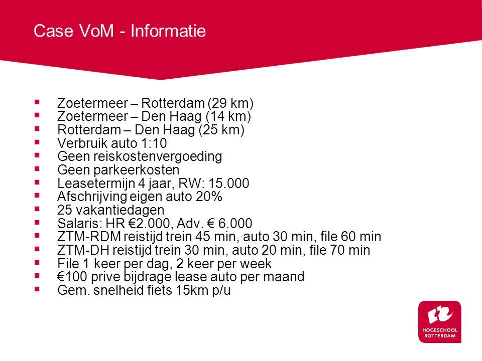 Case VoM - Informatie  Zoetermeer – Rotterdam (29 km)  Zoetermeer – Den Haag (14 km)  Rotterdam – Den Haag (25 km)  Verbruik auto 1:10  Geen reiskostenvergoeding  Geen parkeerkosten  Leasetermijn 4 jaar, RW: 15.000  Afschrijving eigen auto 20%  25 vakantiedagen  Salaris: HR €2.000, Adv.