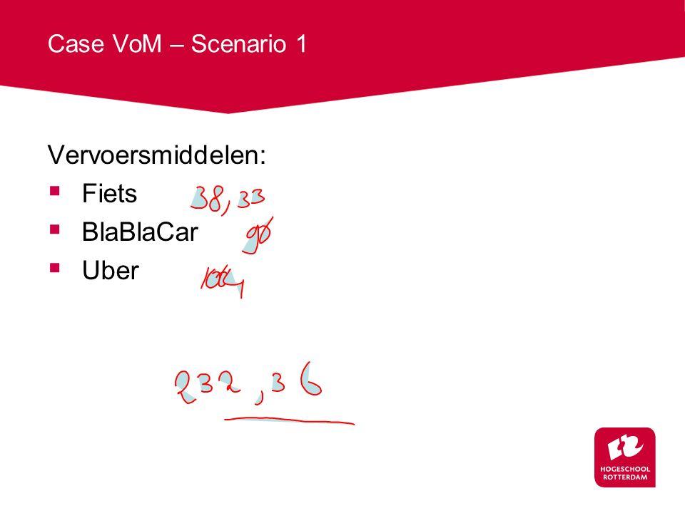 Case VoM – Scenario 1 Vervoersmiddelen:  Fiets  BlaBlaCar  Uber