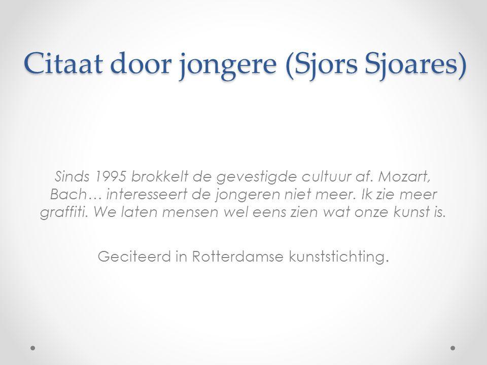 Citaat door jongere (Sjors Sjoares) Sinds 1995 brokkelt de gevestigde cultuur af.