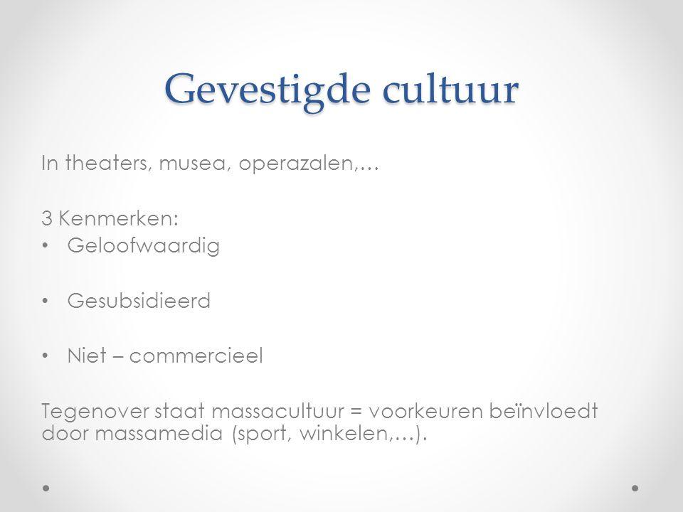 Jeugdcultuur Leefstijlen, muziekvoorkeuren,… Geen plaats voor oudere massacultuur en gevestigde cultuur.