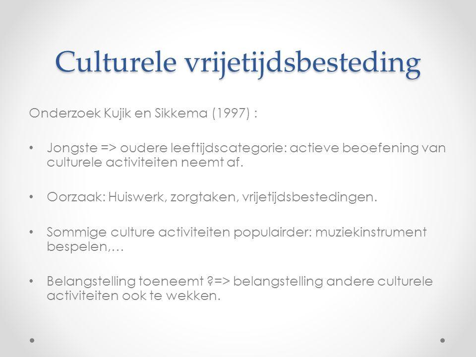 Culturele vrijetijdsbesteding Onderzoek Kujik en Sikkema (1997) : Jongste => oudere leeftijdscategorie: actieve beoefening van culturele activiteiten neemt af.