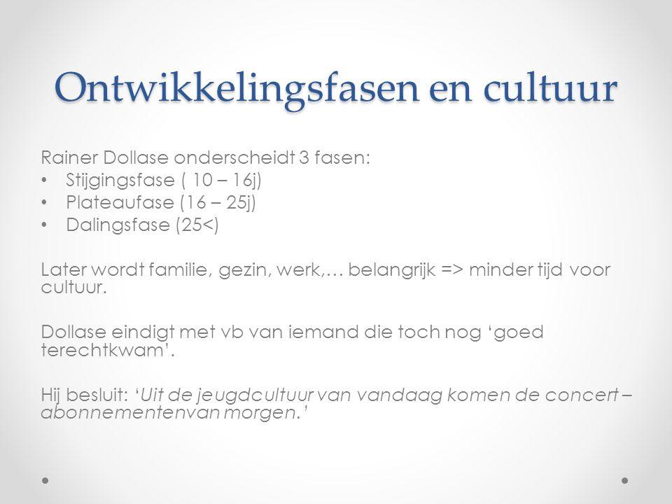 Ontwikkelingsfasen en cultuur Rainer Dollase onderscheidt 3 fasen: Stijgingsfase ( 10 – 16j) Plateaufase (16 – 25j) Dalingsfase (25<) Later wordt familie, gezin, werk,… belangrijk => minder tijd voor cultuur.