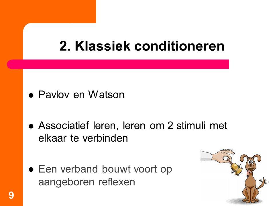 2. Klassiek conditioneren Pavlov en Watson Associatief leren, leren om 2 stimuli met elkaar te verbinden Een verband bouwt voort op aangeboren reflexe
