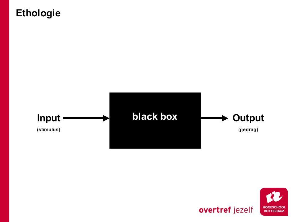 Input (stimulus) Output (gedrag) black box Ethologie