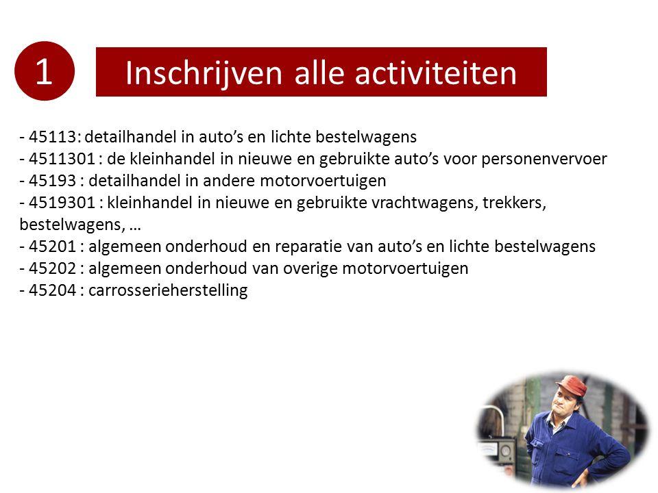 1 Inschrijven alle activiteiten - 45113: detailhandel in auto's en lichte bestelwagens - 4511301 : de kleinhandel in nieuwe en gebruikte auto's voor p