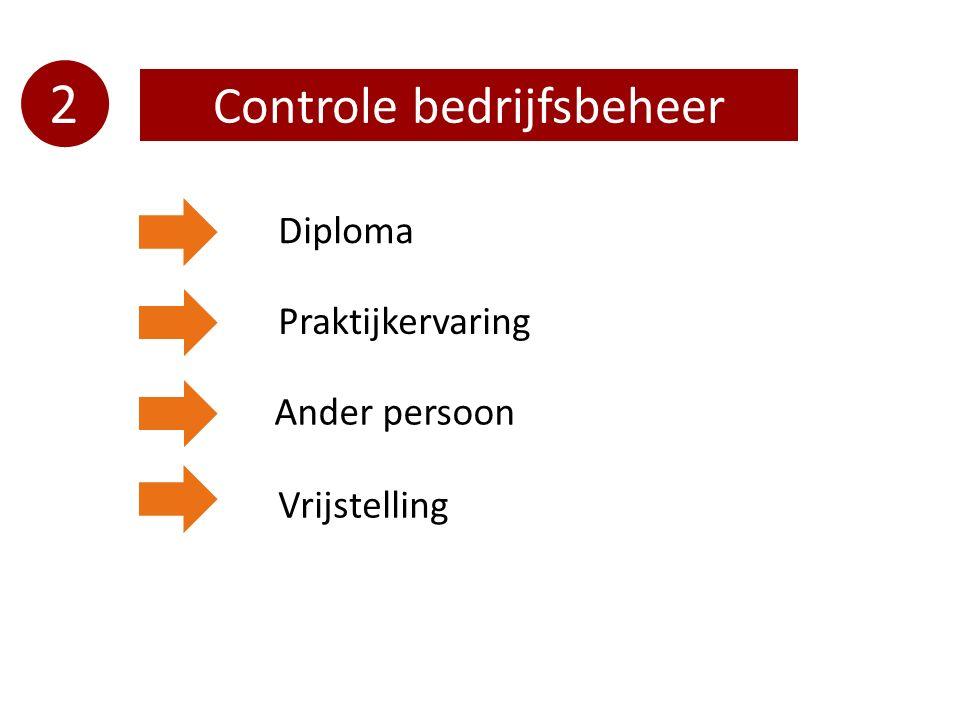 2 Controle bedrijfsbeheer Diploma Praktijkervaring Ander persoon Vrijstelling
