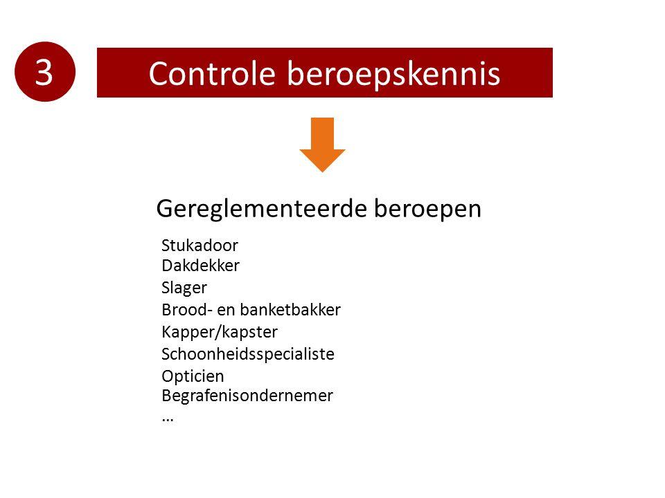 3 Controle beroepskennis Gereglementeerde beroepen Stukadoor Dakdekker Slager Brood- en banketbakker Kapper/kapster Schoonheidsspecialiste Opticien Be