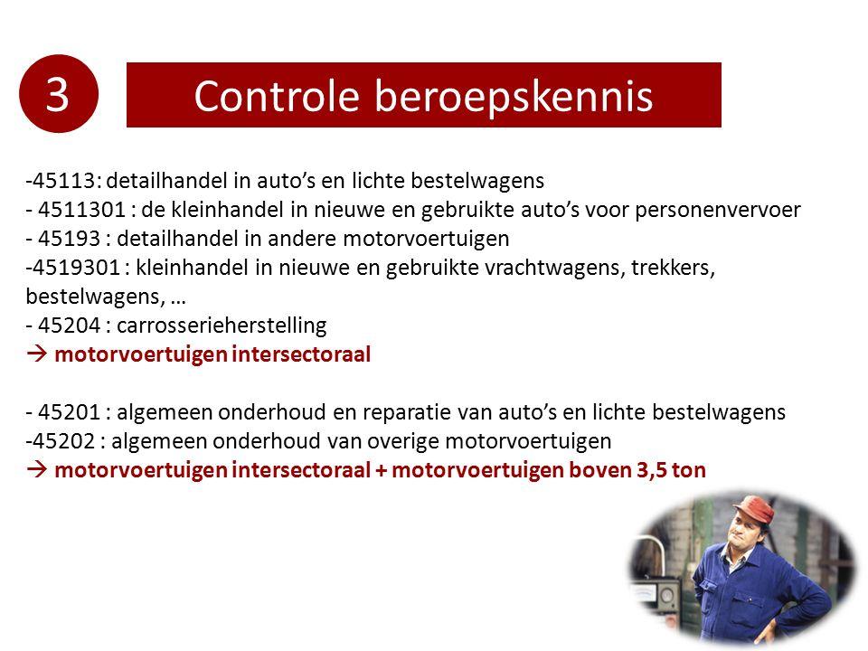 3 Controle beroepskennis -45113: detailhandel in auto's en lichte bestelwagens - 4511301 : de kleinhandel in nieuwe en gebruikte auto's voor personenv