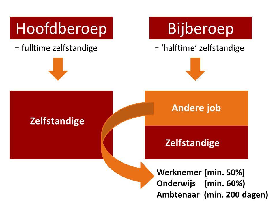HoofdberoepBijberoep = fulltime zelfstandige= 'halftime' zelfstandige Zelfstandige Andere job Werknemer (min. 50%) Onderwijs (min. 60%) Ambtenaar (min