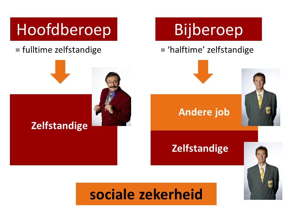 HoofdberoepBijberoep = fulltime zelfstandige= 'halftime' zelfstandige Zelfstandige Andere job sociale zekerheid