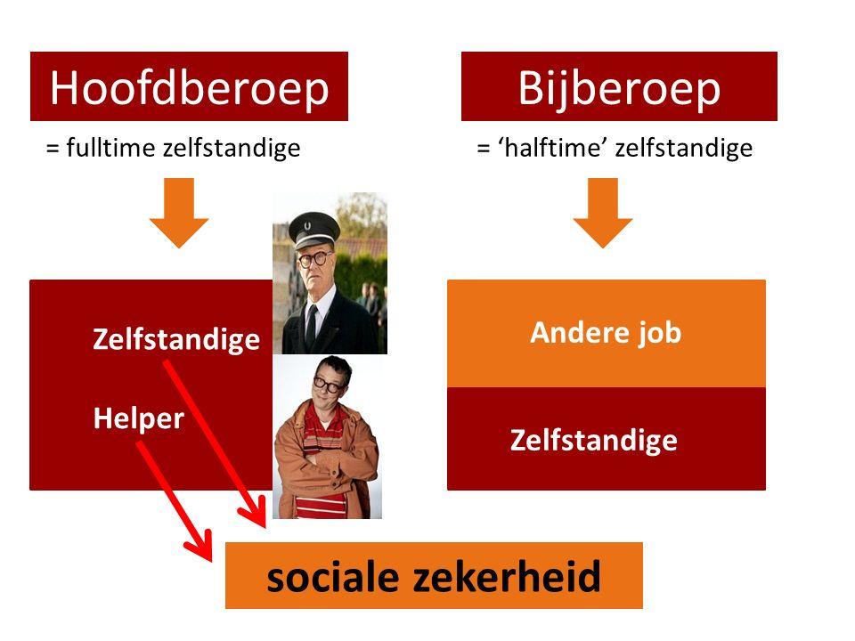 HoofdberoepBijberoep = fulltime zelfstandige= 'halftime' zelfstandige Zelfstandige Andere job sociale zekerheid Helper