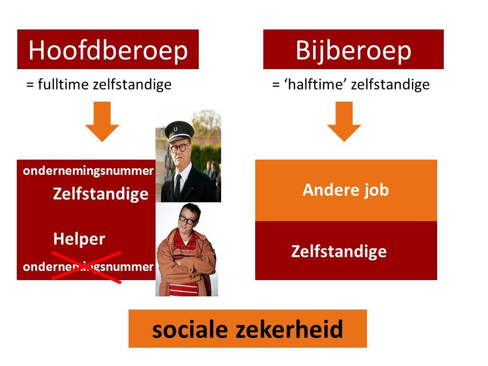 HoofdberoepBijberoep = fulltime zelfstandige= 'halftime' zelfstandige Zelfstandige Andere job sociale zekerheid ondernemingsnummer Helper