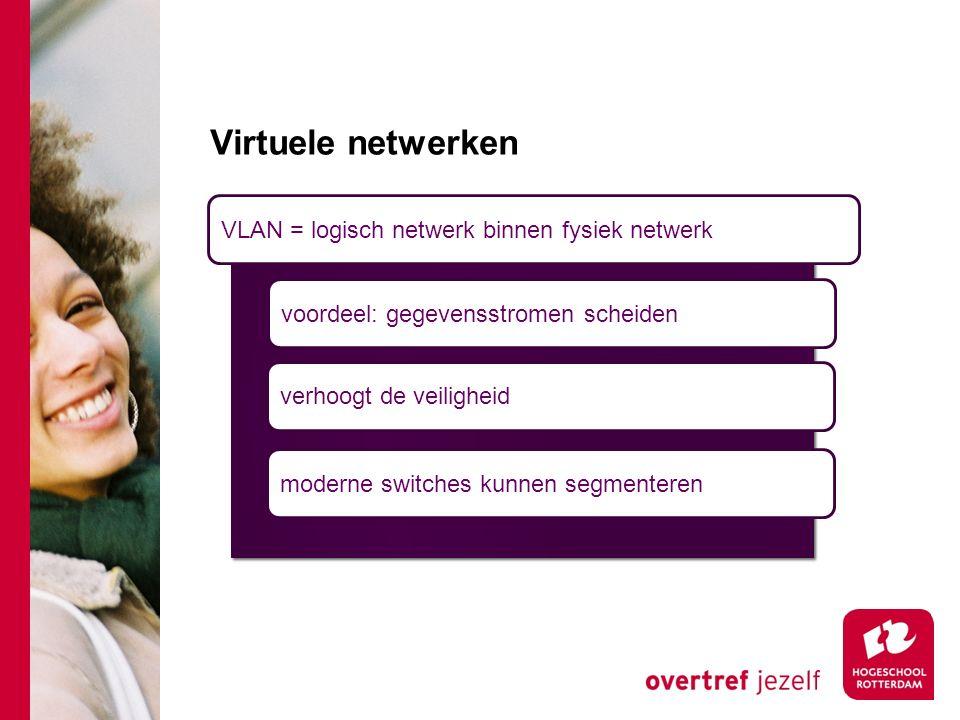 Virtuele netwerken VLAN = logisch netwerk binnen fysiek netwerk voordeel: gegevensstromen scheiden verhoogt de veiligheid moderne switches kunnen segmenteren