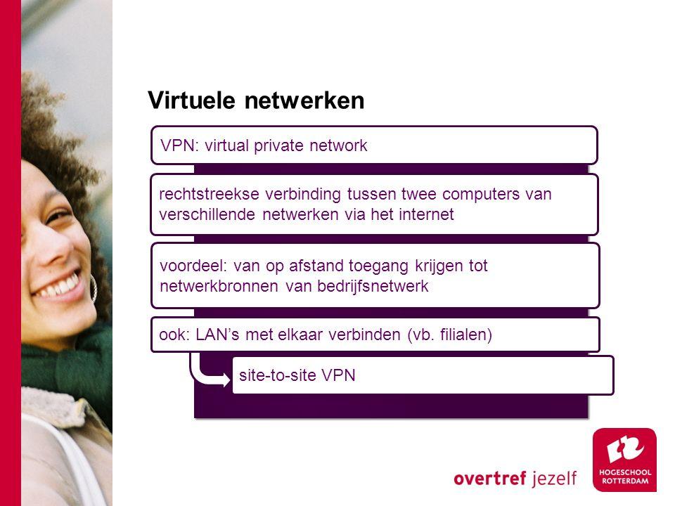 VPN: virtual private network rechtstreekse verbinding tussen twee computers van verschillende netwerken via het internet voordeel: van op afstand toegang krijgen tot netwerkbronnen van bedrijfsnetwerk site-to-site VPN ook: LAN's met elkaar verbinden (vb.