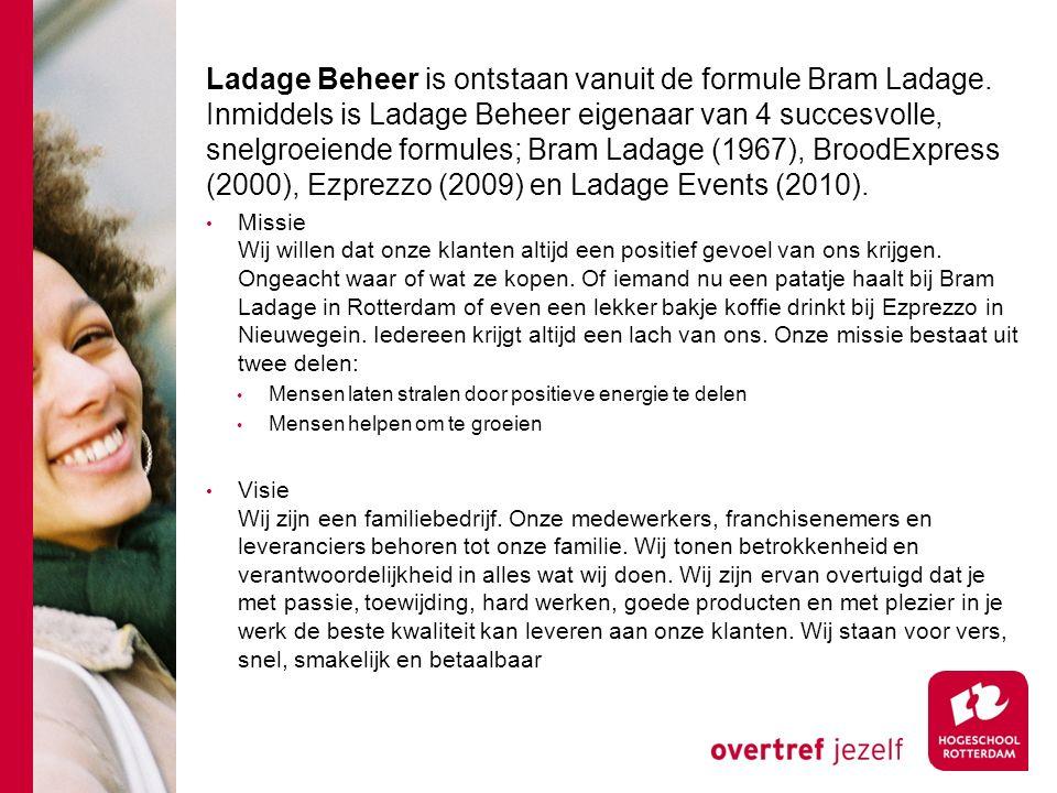 Ladage Beheer is ontstaan vanuit de formule Bram Ladage. Inmiddels is Ladage Beheer eigenaar van 4 succesvolle, snelgroeiende formules; Bram Ladage (1