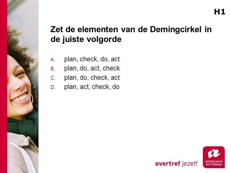 Zet de elementen van de Demingcirkel in de juiste volgorde A. plan, check, do, act B. plan, do, act, check C. plan, do, check, act D. plan, act, check