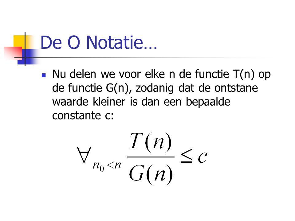 De O Notatie… Nu delen we voor elke n de functie T(n) op de functie G(n), zodanig dat de ontstane waarde kleiner is dan een bepaalde constante c: