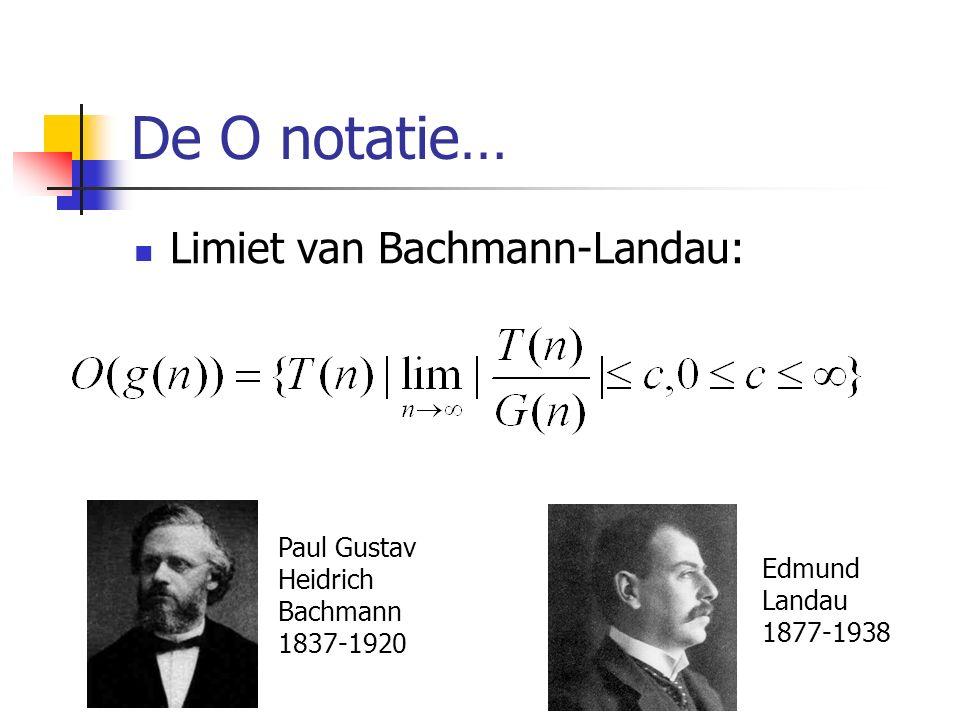 De O notatie… Limiet van Bachmann-Landau: Paul Gustav Heidrich Bachmann 1837-1920 Edmund Landau 1877-1938