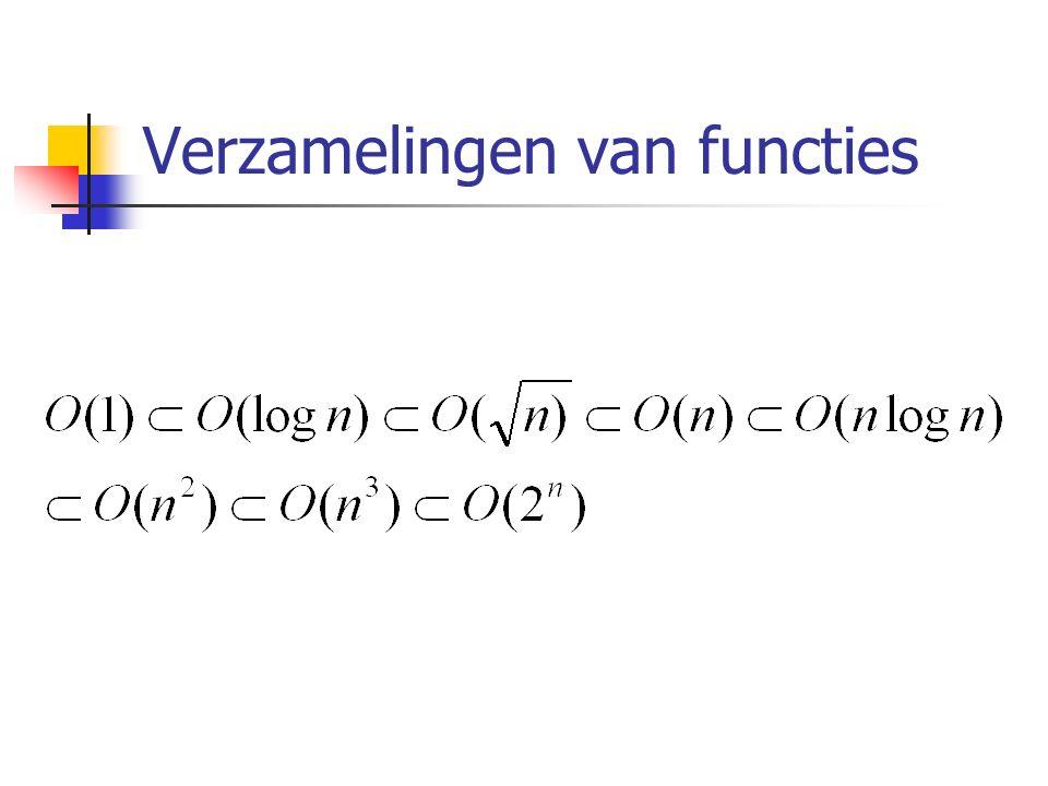 De O notatie… De O notatie zegt iets over de verhouding tussen de stijging van het aantal instructies en de toename van de taakomvang.