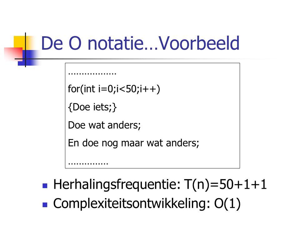 De O notatie…Voorbeeld Herhalingsfrequentie: T(n)=50+1+1 Complexiteitsontwikkeling: O(1) ……………… for(int i=0;i<50;i++) {Doe iets;} Doe wat anders; En doe nog maar wat anders; ……………