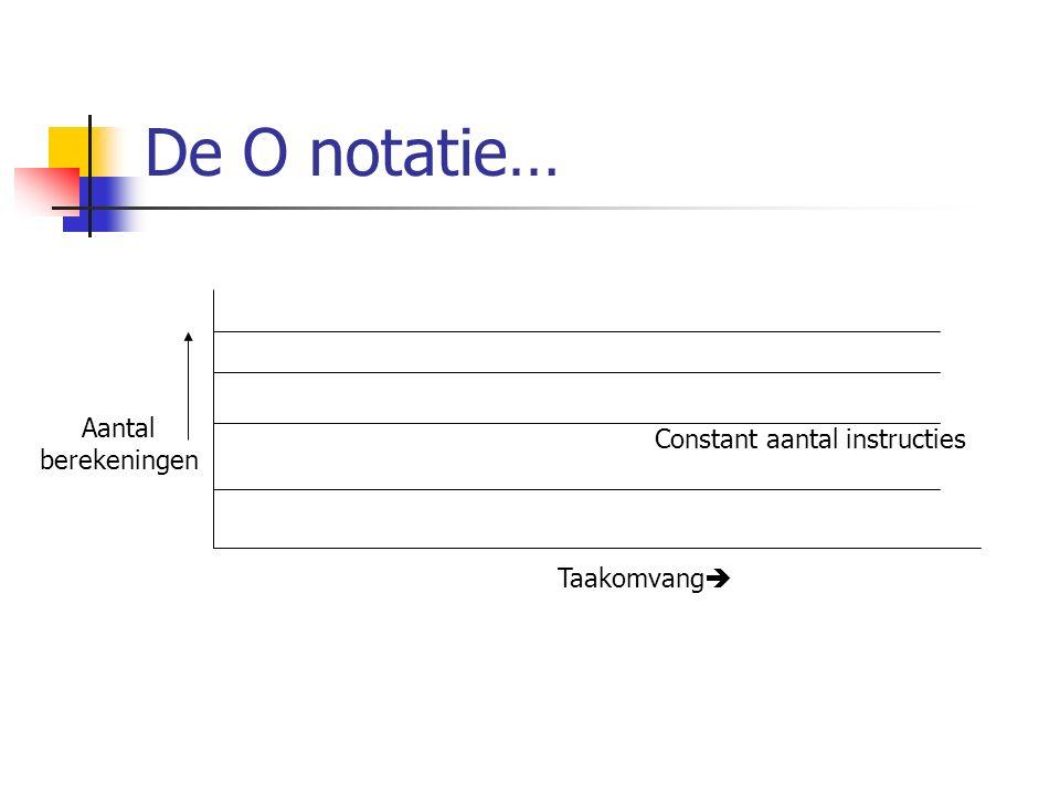De O notatie… Taakomvang  Aantal berekeningen Constant aantal instructies