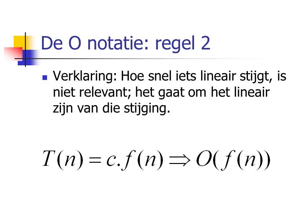De O notatie: regel 2 Verklaring: Hoe snel iets lineair stijgt, is niet relevant; het gaat om het lineair zijn van die stijging.