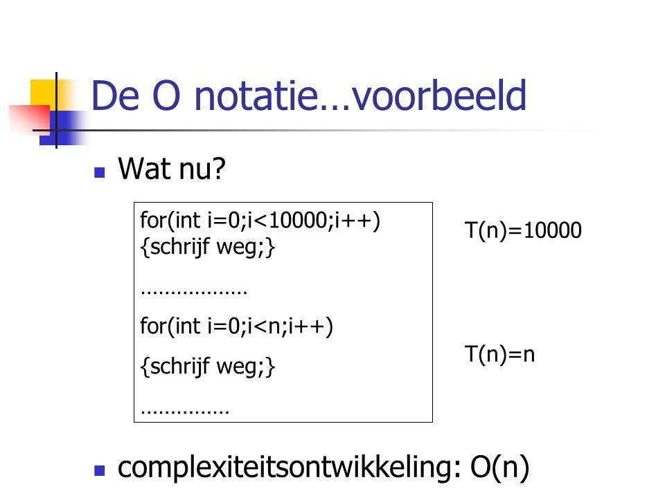 De O notatie…voorbeeld Wat nu.