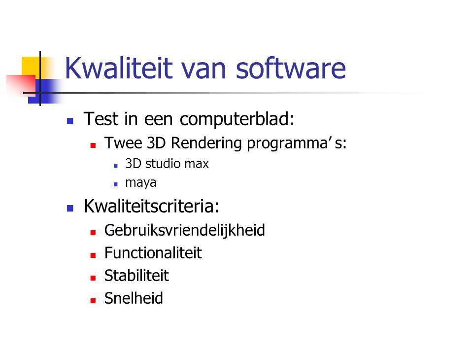 Kwaliteit van software Test in een computerblad: Twee 3D Rendering programma' s: 3D studio max maya Kwaliteitscriteria: Gebruiksvriendelijkheid Functionaliteit Stabiliteit Snelheid