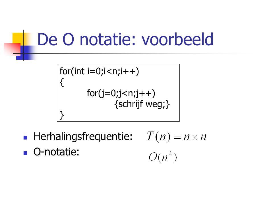De O notatie: voorbeeld Herhalingsfrequentie: O-notatie: for(int i=0;i<n;i++) { for(j=0;j<n;j++) {schrijf weg;} }