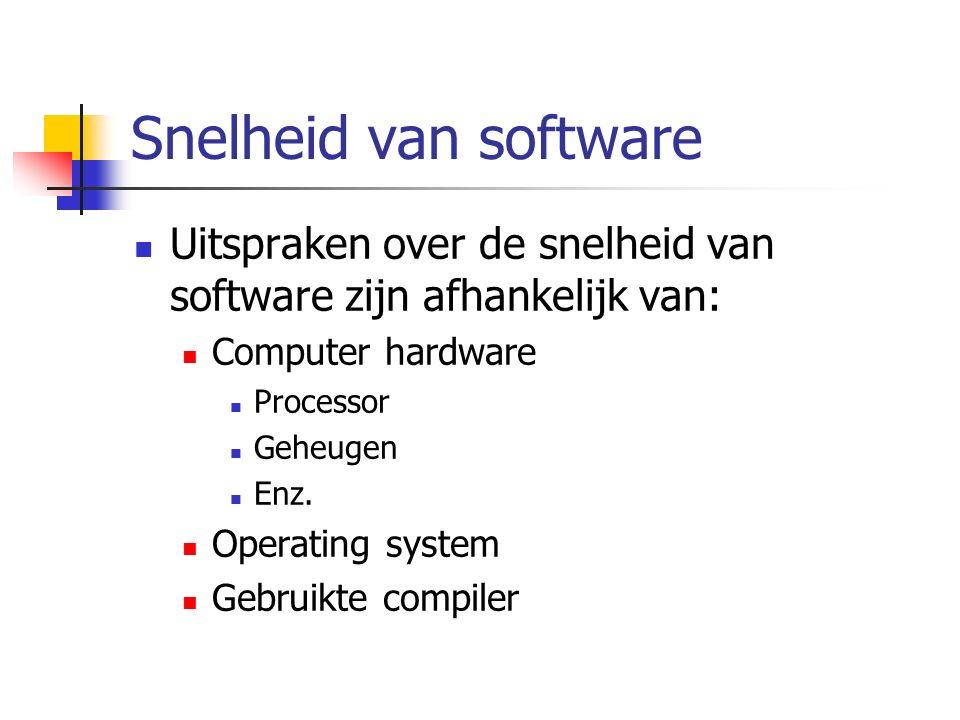 Snelheid van software Uitspraken over de snelheid van software zijn afhankelijk van: Computer hardware Processor Geheugen Enz.