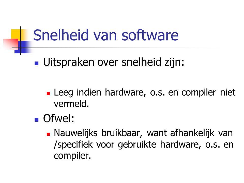 Snelheid van software Uitspraken over snelheid zijn: Leeg indien hardware, o.s.
