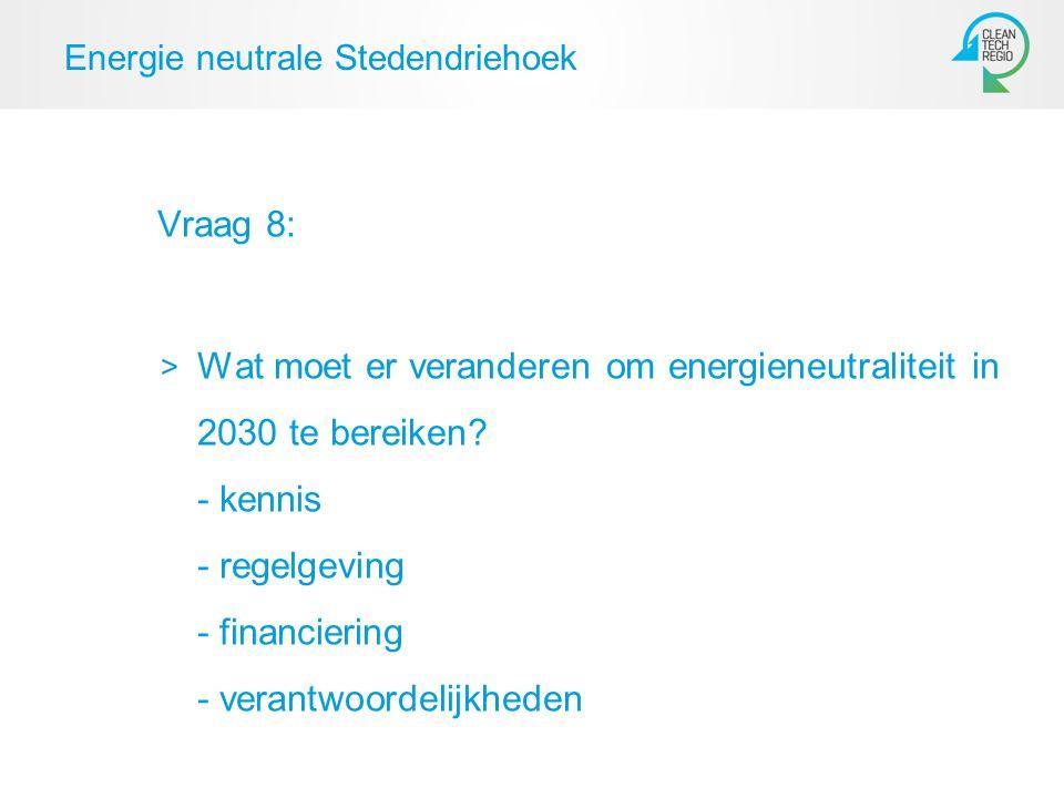 Energie neutrale Stedendriehoek Vraag 8: Wat moet er veranderen om energieneutraliteit in 2030 te bereiken.
