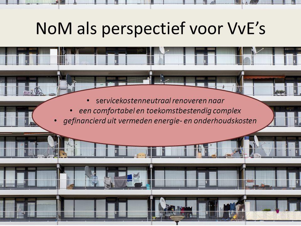 Aanbod voor Gelderse VvE's 2016 – 2020 100 NoM-quickscans – NoM-advies voor 60 VvE's – Ondersteuning naar NoM voor 40 VvE's (juridisch, technisch, financieel en procesmatig) 5 NoM-pilots in 2016