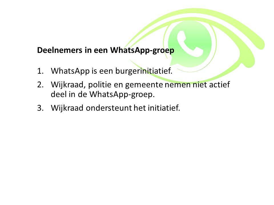 Deelnemers in een WhatsApp-groep 1.WhatsApp is een burgerinitiatief. 2.Wijkraad, politie en gemeente nemen niet actief deel in de WhatsApp-groep. 3.Wi