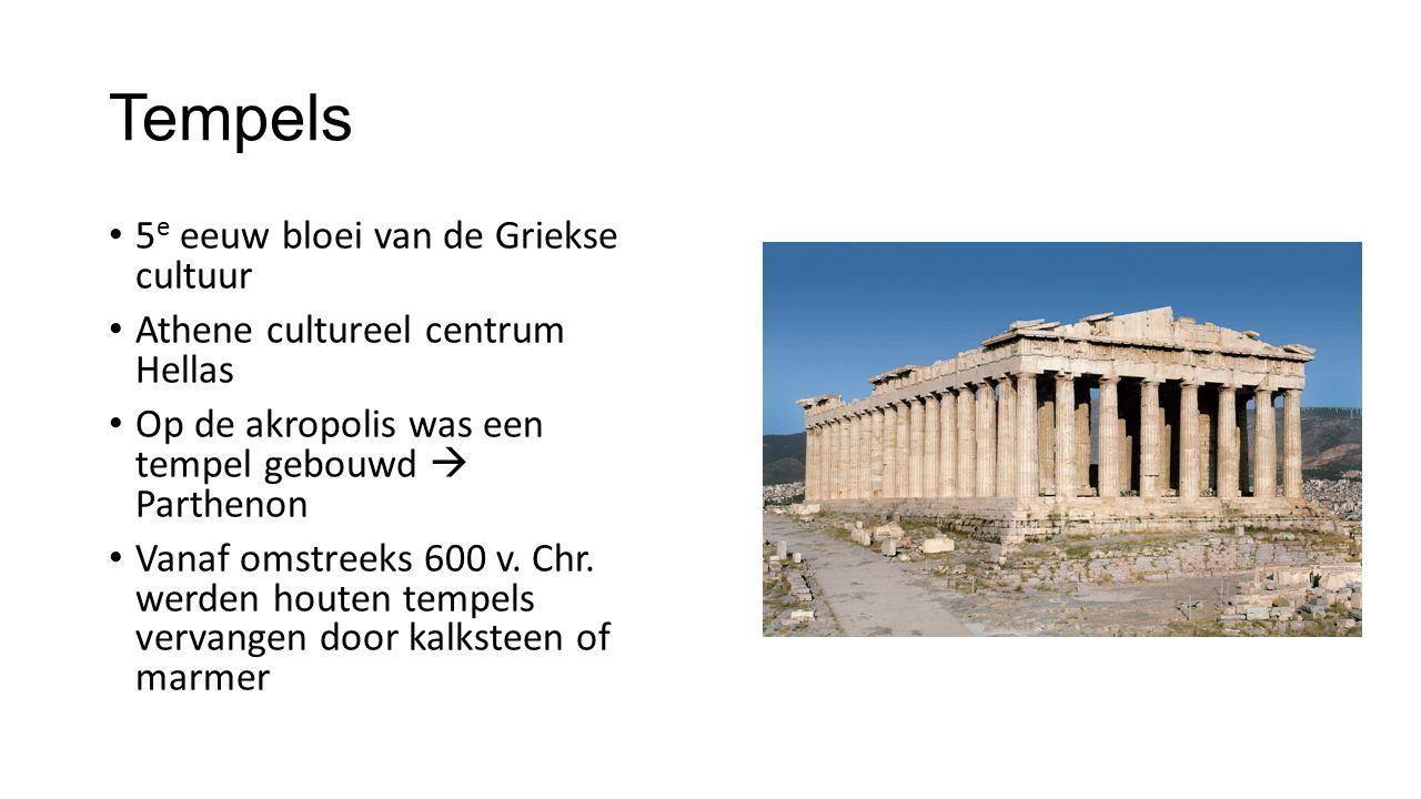 Tempels 5 e eeuw bloei van de Griekse cultuur Athene cultureel centrum Hellas Op de akropolis was een tempel gebouwd  Parthenon Vanaf omstreeks 600 v