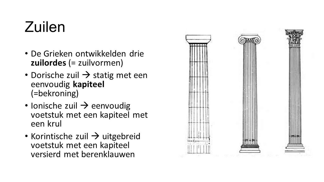 Zuilen De Grieken ontwikkelden drie zuilordes (= zuilvormen) Dorische zuil  statig met een eenvoudig kapiteel (=bekroning) Ionische zuil  eenvoudig