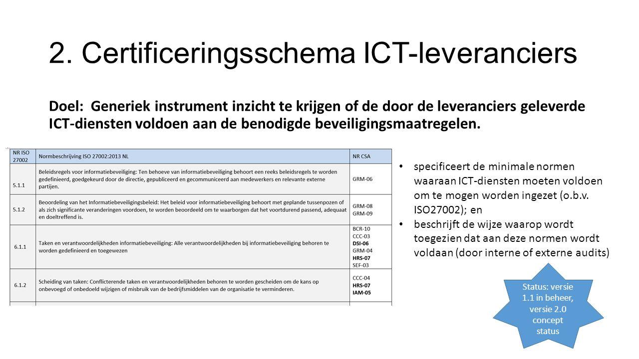 2. Certificeringsschema ICT-leveranciers Doel: Generiek instrument inzicht te krijgen of de door de leveranciers geleverde ICT-diensten voldoen aan de