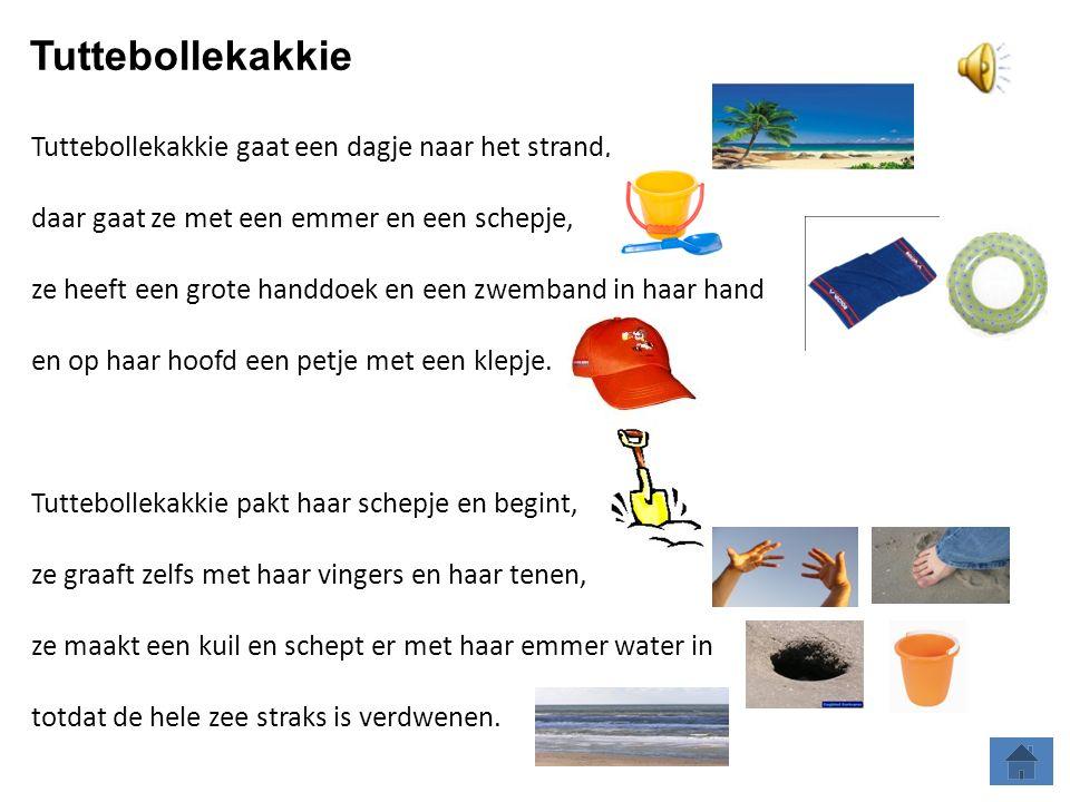 Tuttebollekakkie gaat een dagje naar het strand, daar gaat ze met een emmer en een schepje, ze heeft een grote handdoek en een zwemband in haar hand en op haar hoofd een petje met een klepje.