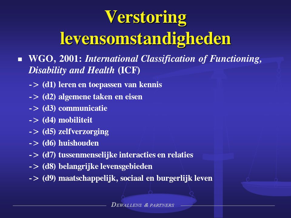 Verstoring levensomstandigheden WGO, 2001: International Classification of Functioning, Disability and Health (ICF) -> (d1) leren en toepassen van ken