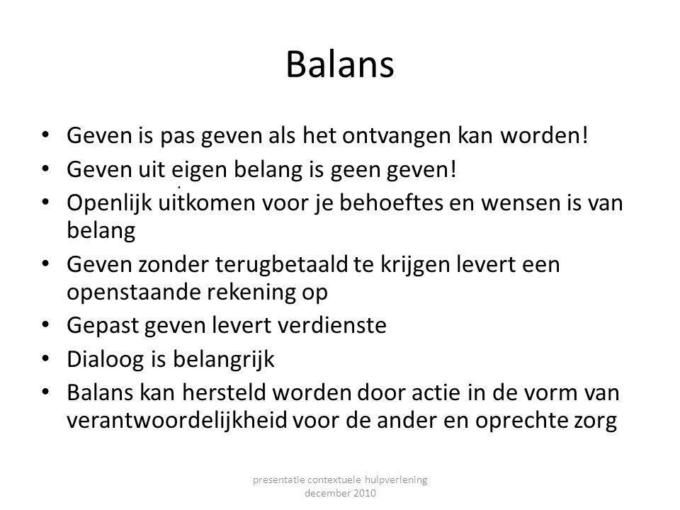 Balans Geven is pas geven als het ontvangen kan worden! Geven uit eigen belang is geen geven! Openlijk uitkomen voor je behoeftes en wensen is van bel