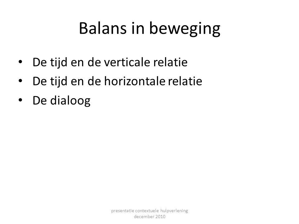 Balans in beweging De tijd en de verticale relatie De tijd en de horizontale relatie De dialoog presentatie contextuele hulpverlening december 2010