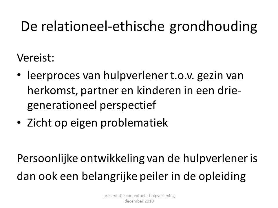 De relationeel-ethische grondhouding Vereist: leerproces van hulpverlener t.o.v. gezin van herkomst, partner en kinderen in een drie- generationeel pe