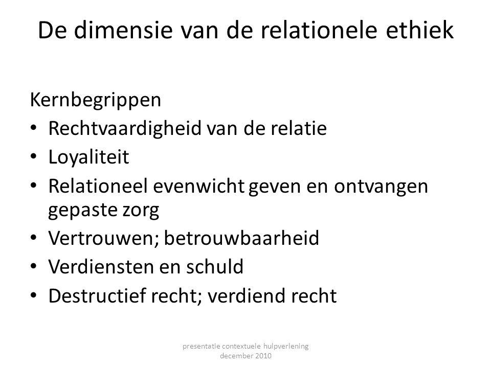 De dimensie van de relationele ethiek Kernbegrippen Rechtvaardigheid van de relatie Loyaliteit Relationeel evenwicht geven en ontvangen gepaste zorg V