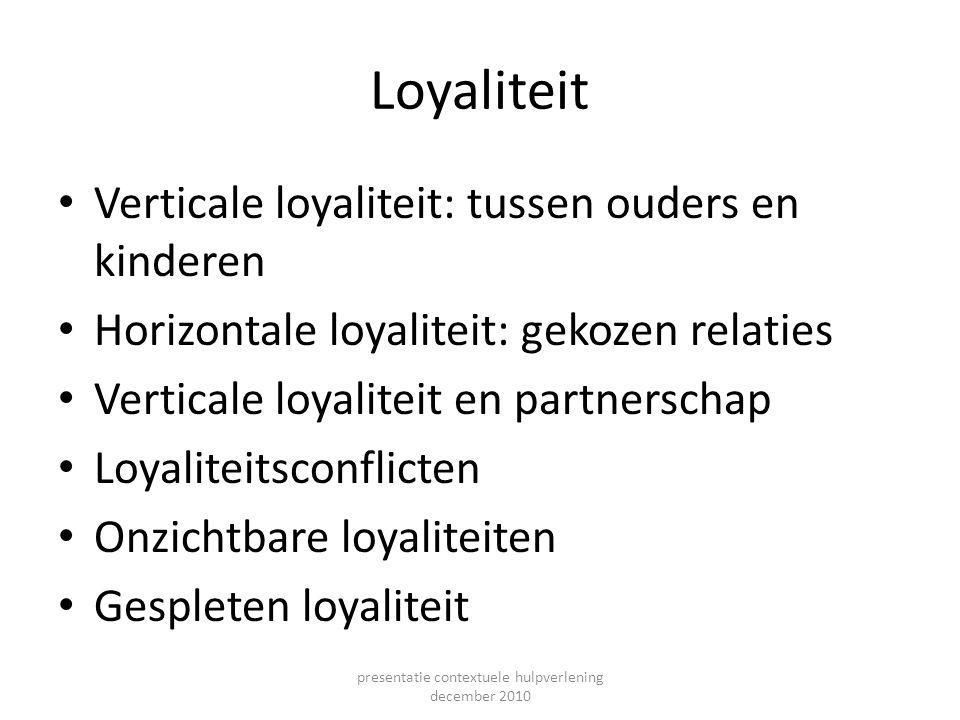 Loyaliteit Verticale loyaliteit: tussen ouders en kinderen Horizontale loyaliteit: gekozen relaties Verticale loyaliteit en partnerschap Loyaliteitsco