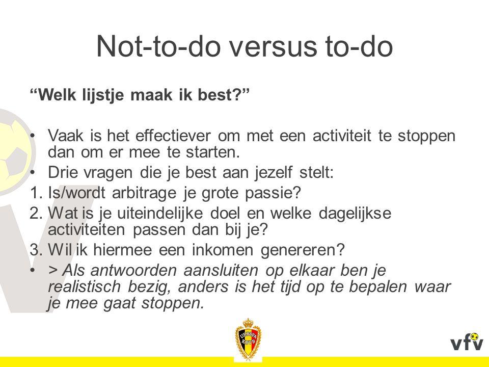 """Not-to-do versus to-do """"Welk lijstje maak ik best?"""" Vaak is het effectiever om met een activiteit te stoppen dan om er mee te starten. Drie vragen die"""