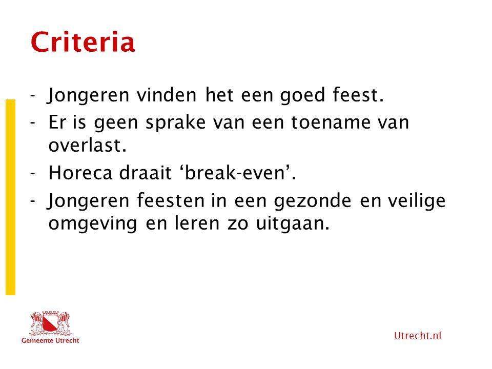Utrecht.nl Criteria -Jongeren vinden het een goed feest. -Er is geen sprake van een toename van overlast. -Horeca draait 'break-even'. -Jongeren feest